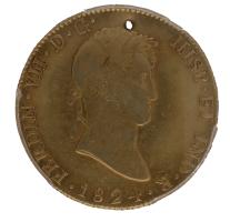 Moneda Fernando VII 8 Escudos Oro 1824 Potosi PJ