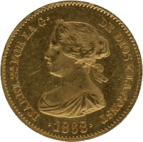 Moneda Isabel II 4 Escudos Oro Madrid 3,35 g