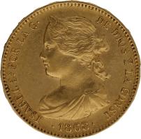 Moneda Isabel II 10 Escudos Oro Madrid 8,35 g