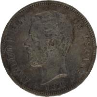 Moneda Amadeo I 5 Pesetas Plata 1871 SDM 24,84 gr