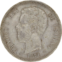 Moneda Amadeo I 5 Pesetas Plata 1871 SDM 24,71 gr