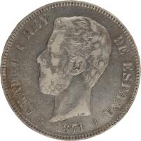 Moneda Amadeo I 5 Pesetas Plata 1871 DEM 24,78 gr