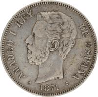 Moneda Amadeo I 5 Pesetas Plata DEM 24,78 g