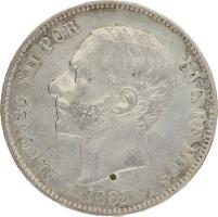 Moneda Alfonso XII 5 Pesetas Plata 1883 MSM 24,75 gr