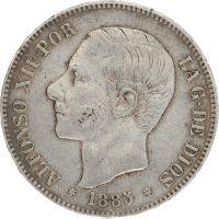 Moneda Alfonso XII 5 Pesetas Plata 1885 MSM 24,88 gr