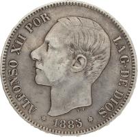 Moneda Alfonso XII 5 Pesetas Plata MSM 24,84 g