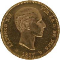 Moneda Alfonso XII 25 Pesetas Oro 1877 DEM 8,07 gr