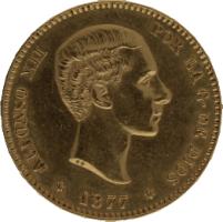 Moneda Alfonso XII 25 Pesetas Oro 1877 DEM 8,04 gr