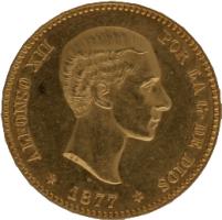Moneda Alfonso XII 25 Pesetas Oro 1877 DEM 8,03 gr
