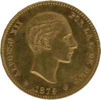 Moneda Alfonso XII 25 Pesetas Oro EMM 8,02 g