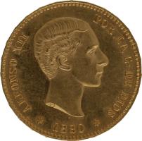 Moneda Alfonso XII 25 Pesetas Oro MSM 8,05 g