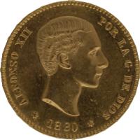 Moneda Alfonso XII 25 Pesetas Oro MSM 8,06 g
