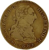 Moneda Carlos III 2 Escudos Oro 1788 Madrid M 6,68 g