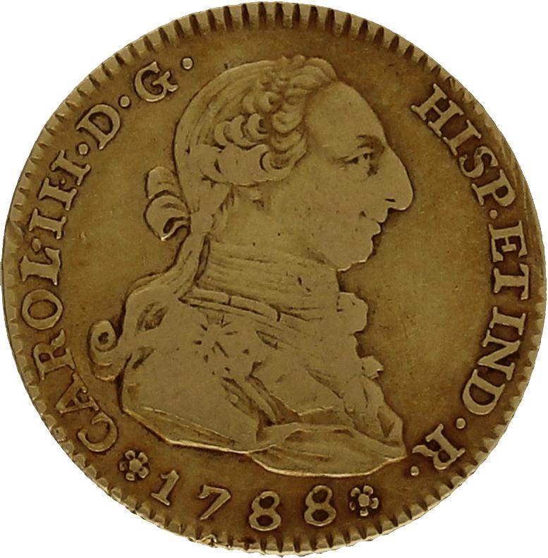 Moneda Carlos III 2 Escudos Oro 1788 Madrid M 6,68 gr