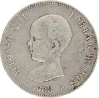 Moneda Alfonso XIII 5 Pesetas Plata MPM 24,74 g