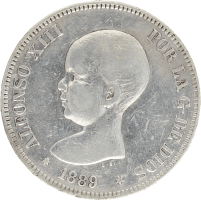 Moneda Alfonso XIII 5 Pesetas Plata MPM 24,75 g