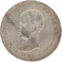 Moneda Alfonso XIII 5 Pesetas Plata MPM 24,76 g