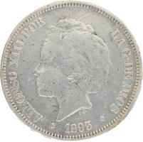 Moneda Alfonso XIII 5 Pesetas Plata PGL 24,66 g