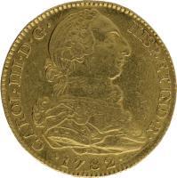 Moneda Carlos III 4 Escudos Oro 1782 Madrid JD 13,44 gr