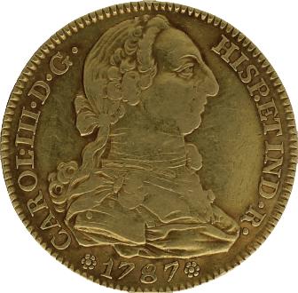Moneda Carlos III 4 Escudos Oro 1787 Madrid DV 13,39 g