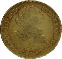 Moneda Carlos III 8 Escudos Oro Santiago DA 26,94 g