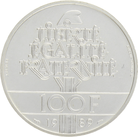 Moneda Francia 100 Francs Derechos Humanos Plata 1989 30 g
