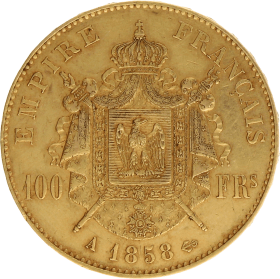 Moneda Francia 100 Francs 900 milésimas Oro 1858 32,19 g
