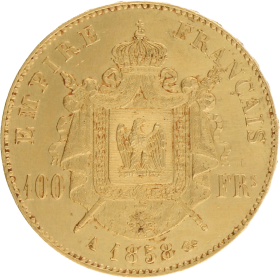 Moneda Francia 100 Francs 900 milésimas Oro 1858 32,23 g