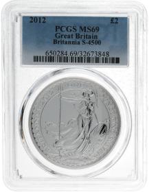 Moneda Reino Unido 2 Pounds Britannia PCGS MS 69 Plata 2012 31,10 g