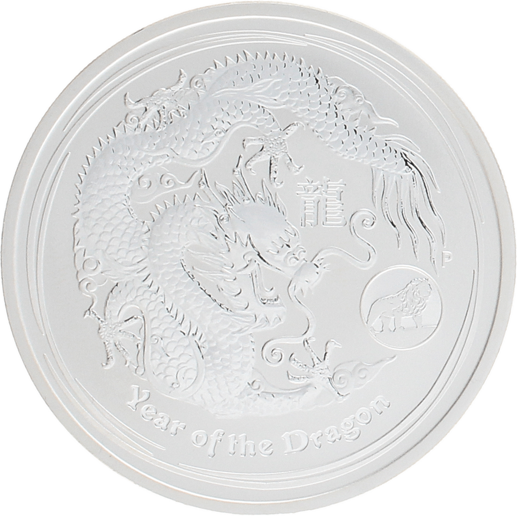 Moneda Australia 1 Dollar Año lunar Dragón Privy Mark Lion Plata 2012 31,10 g