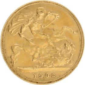 Moneda Reino Unido 1/2 Libra Oro 1902 3,99 g