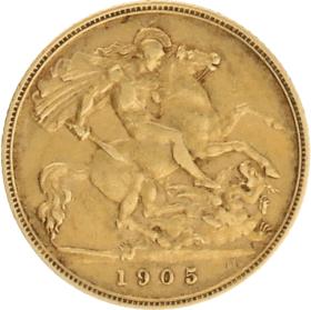 Moneda Reino Unido 1/2 Libra Oro 1905 3,96 g