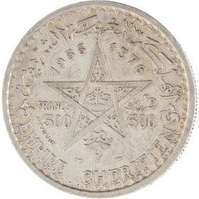Moneda Marruecos 500 Francs Plata 1956 22,44 g