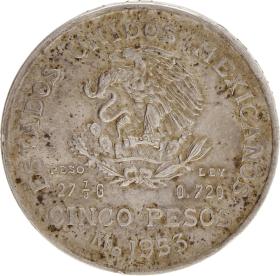 Moneda México 5 Pesos. Hidalgo Plata 1953 27,72 g