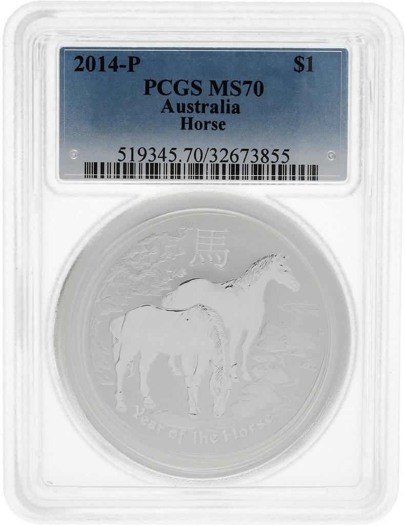 Moneda Australia 1 Dollar año lunar Caballo PCGS MS 70 Plata 2014 31,10 g