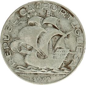 Moneda Portugal 5 Escudos Plata 1947 6,88 g