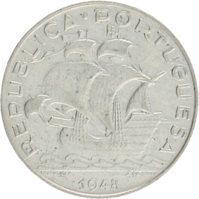 Moneda Portugal 5 Escudos Plata 1948 6,97 g