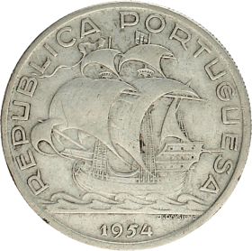 Moneda Portugal 10 Escudos Plata 1954 12,47 g