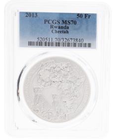 Moneda Ruanda 50 Francs pc65 ms70 guepardo cheetah Plata 2013 31,10 g