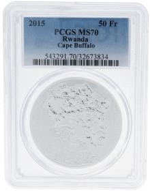 Moneda Ruanda 50 Francs Bufalo PCGS MS 70 Plata 2015 31,10 g