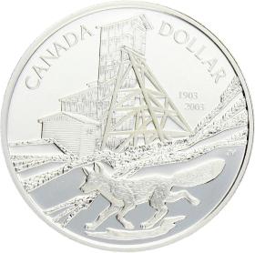 Moneda Canadá 1 Dollar 100 aniversario descubrimiento cobalto Plata 2003 25,15 g