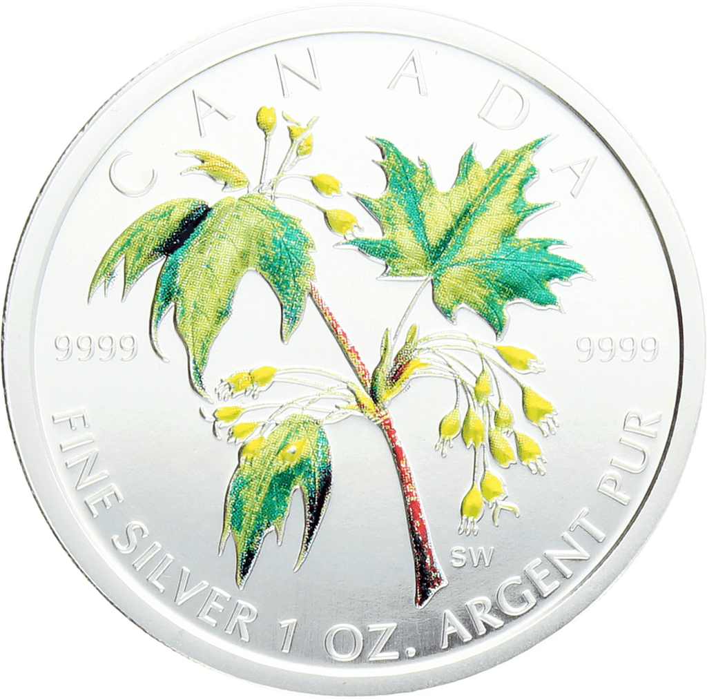 Moneda Canadá 5 Dollars Summer Maple Leaf coloreada Plata 2003 31,10 g