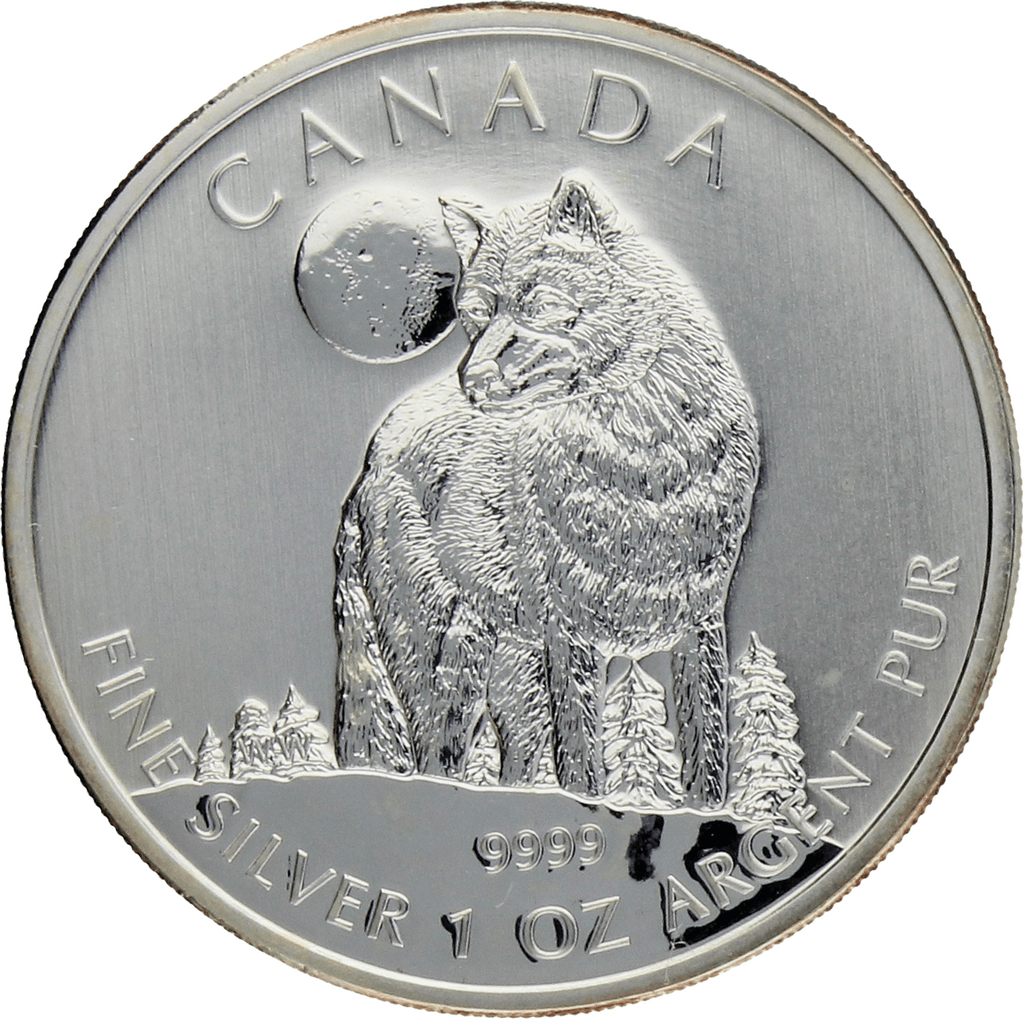Moneda Canadá 5 Dollars Lobo Plata 2011 31,35 g