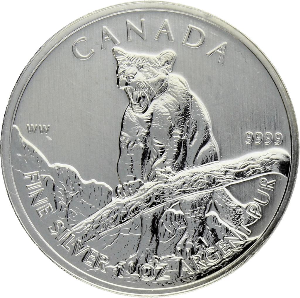 Moneda Canadá 5 Dollars Cougar Plata 2012 31,41 g