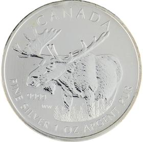Moneda Canadá 5 Dollars Alce Plata 2012 31,19 g