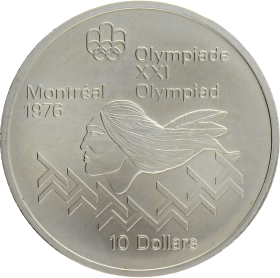 Moneda Canadá 10 Dollars XXI Olimpiada Montreal Plata 1975 48,74 g