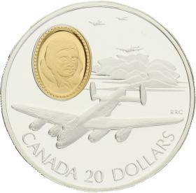 Moneda Canadá 20 Dollars Lancaster 683 Auro Plata 1990 30,82 g