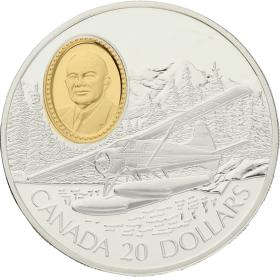 Moneda Canadá 20 Dollars The Havilland Beaver Plata 1991 30,96 g