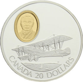 Moneda Canadá 20 Dollars Curtiss JN-4 Cannuck Plata 1992 31,10 g