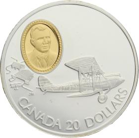Moneda Canadá 20 Dollars Havilland Gypsy Moth Plata 1992 30,84 g